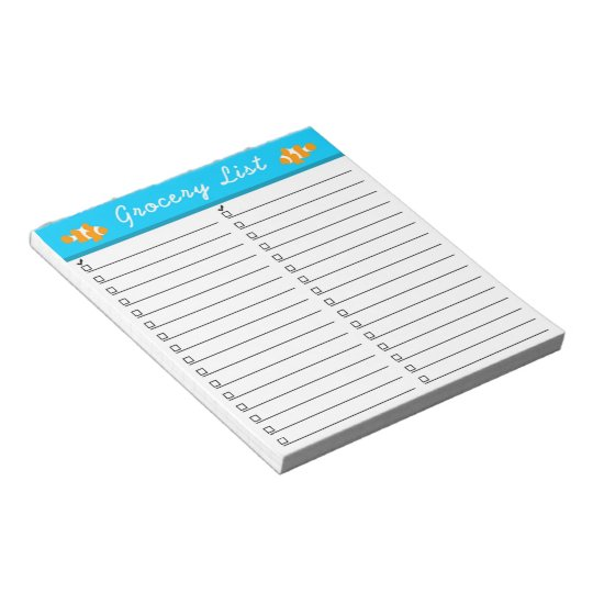 Clownfish Grocery List Notepad