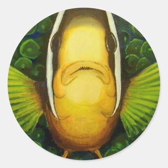 Clownfish in Anemone Classic Round Sticker
