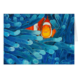 Clownfish in Sea Anemones Blue and Orange Hued Card