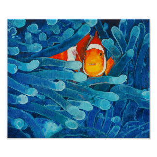 Clownfish in Sea Anemones Blue and Orange Hued Poster