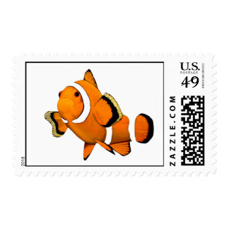 Clownfish on White Background Stamps
