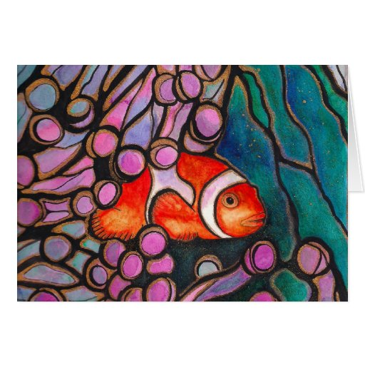 "Clownfish Sea Anemone ""Stained Glass"" design! Greeting Card"