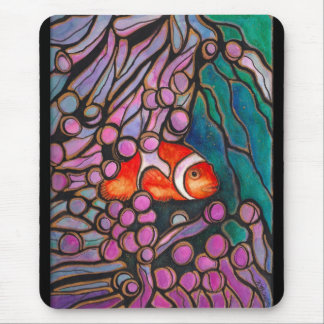 """Clownfish Sea Anemone """"Stained Glass"""" design! Mouse Pad"""