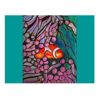 """Clownfish Sea Anemone """"Stained Glass"""" design! Postcard"""