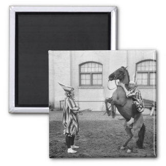 Clowning Around on a Horse, 1915 2 Inch Square Magnet