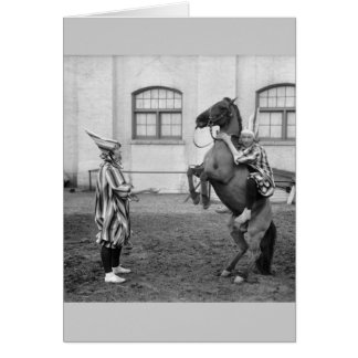 Clowning Around on a Horse, 1915 Card