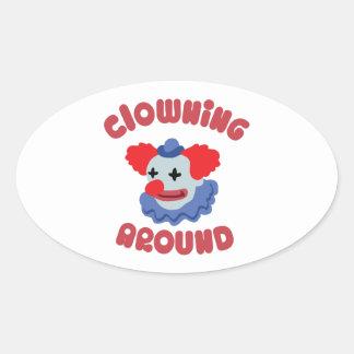 Clowning Around Oval Sticker