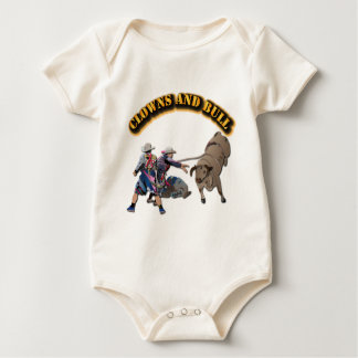 Clowns and Bull-2 with Text Baby Bodysuit