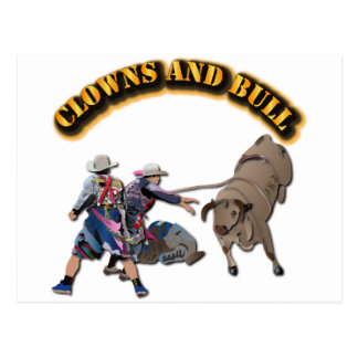 Clowns and Bull-2 with Text Postcard