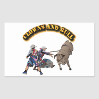 Clowns and Bull-2 with Text Rectangular Sticker