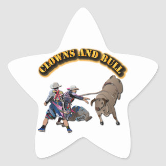 Clowns and Bull-2 with Text Star Sticker