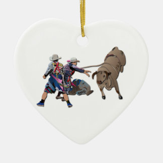 Clowns and Bull-2 without Text Ceramic Ornament