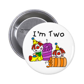 Clowns and Candles 2nd Birthday Tshirts and Gifts Pinback Button