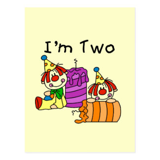Clowns and Candles 2nd Birthday Tshirts and Gifts Postcard