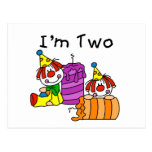 Clowns and Candles 2nd Birthday Tshirts and Gifts Post Card