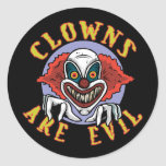 Clowns are Evil Stickers/Envelope Seals Classic Round Sticker