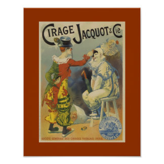 Clowns Cirage Jacquot Vintage Art Poster