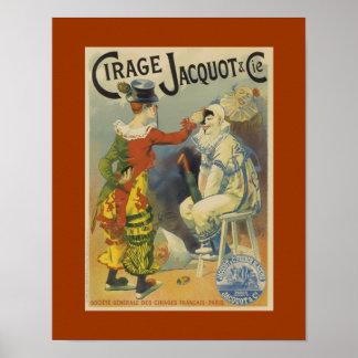 Clowns Cirage Jacquot Vintage Art Poster