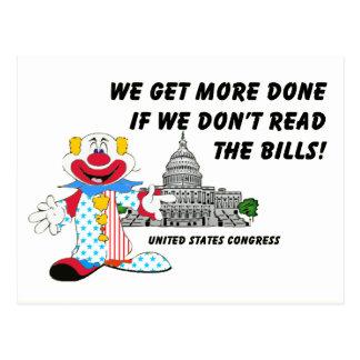 Clowns in Congress Postcard