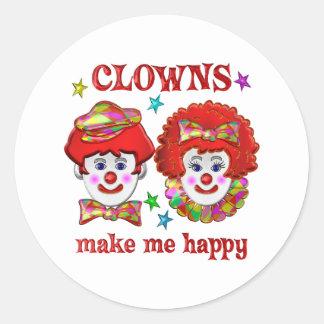 Clowns Make Me Happy Classic Round Sticker