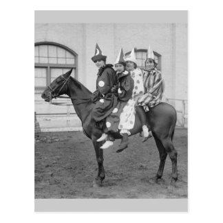 Clowns on a Horse, 1915 Postcard