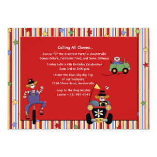 Clowns on Wheels Invitation