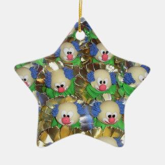 Clowns Double-Sided Star Ceramic Christmas Ornament