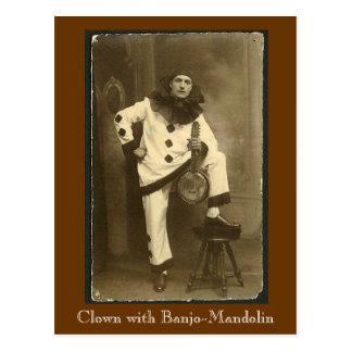 clownwbanjomando, payaso con la Banjo-Mandolina Tarjeta Postal