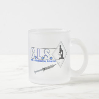 CLS BLUE LOGO W/ MICROSCOPE -  LAB SCIENTIST FROSTED GLASS COFFEE MUG