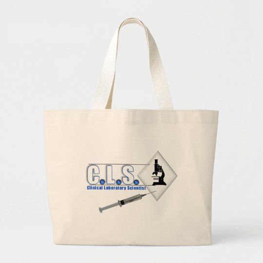 CLS BLUE LOGO W/ MICROSCOPE -  LAB SCIENTIST LARGE TOTE BAG