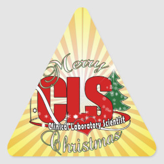 CLS CHRISTMAS  Clinical Laboratory Scientist Triangle Sticker
