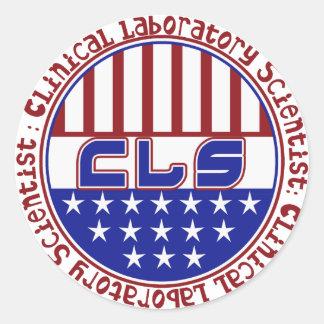 CLS PATRIOT USA FLAG - CLINICAL LAB SCIENTIST CLASSIC ROUND STICKER