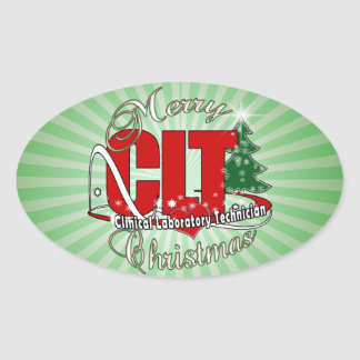 CLT CHRISTMAS Clinical Laboratory Technician Oval Sticker