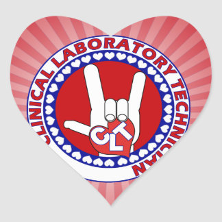 CLT CLINICAL LAB TECH ASL iLOVE LOGO Heart Sticker
