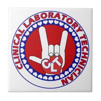 CLT CLINICAL LAB TECH ASL iLOVE LOGO Tile