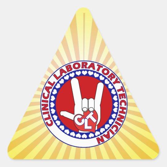 CLT CLINICAL LAB TECH ASL iLOVE LOGO Triangle Sticker