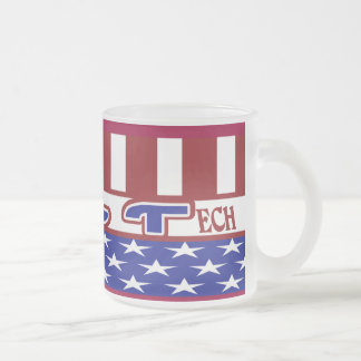 CLT PATRIOTIC CLINICAL LAB TECH USA FLAG FROSTED GLASS COFFEE MUG