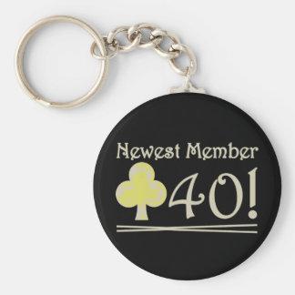 Club 40 basic round button keychain