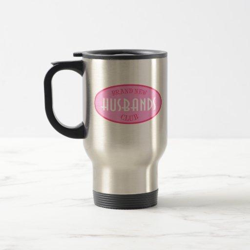 Club a estrenar de los maridos (rosa) taza de viaje de acero inoxidable