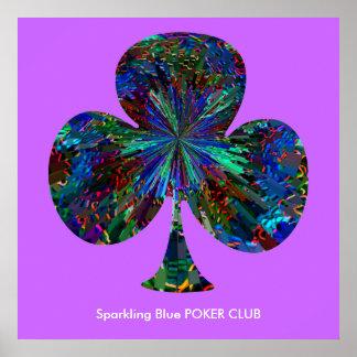 CLUB azul del PÓKER el chispear Póster