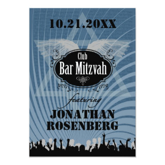 Club Bar Mitzvah in Blue Custom Announcement