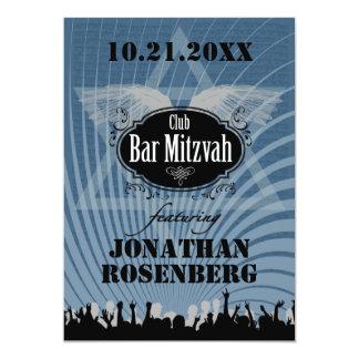 Club Bar Mitzvah in Blue 5x7 Paper Invitation Card
