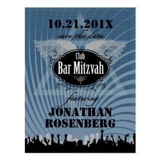 Club Bar Mitzvah Save the Date in Blue Postcard