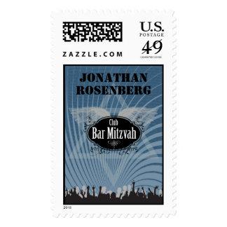 Club Bar Mitzvah Stamp in Blue, Large