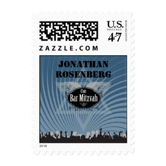 Club Bar Mitzvah Stamp in Blue, Small