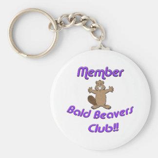 Club calvo de los castores del miembro llavero