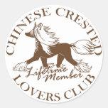Club con cresta chino de los amantes etiqueta redonda