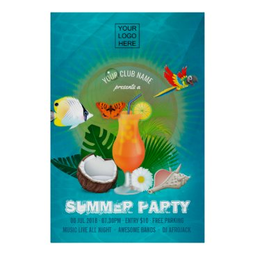 Beach Themed Club/Corporate Summer Cocktail Party Invitation Poster