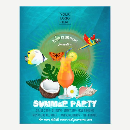 Club/Corporate Summer Party add photo Invitation Flyer