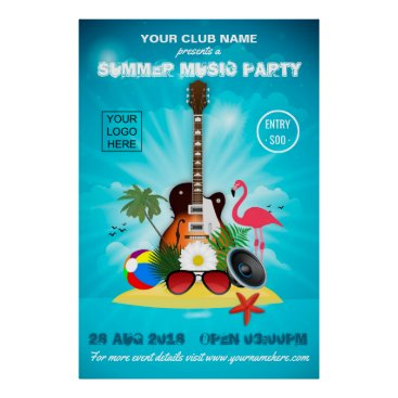 Beach Themed Club/Corporate Summer Party Invitation Advert Poster